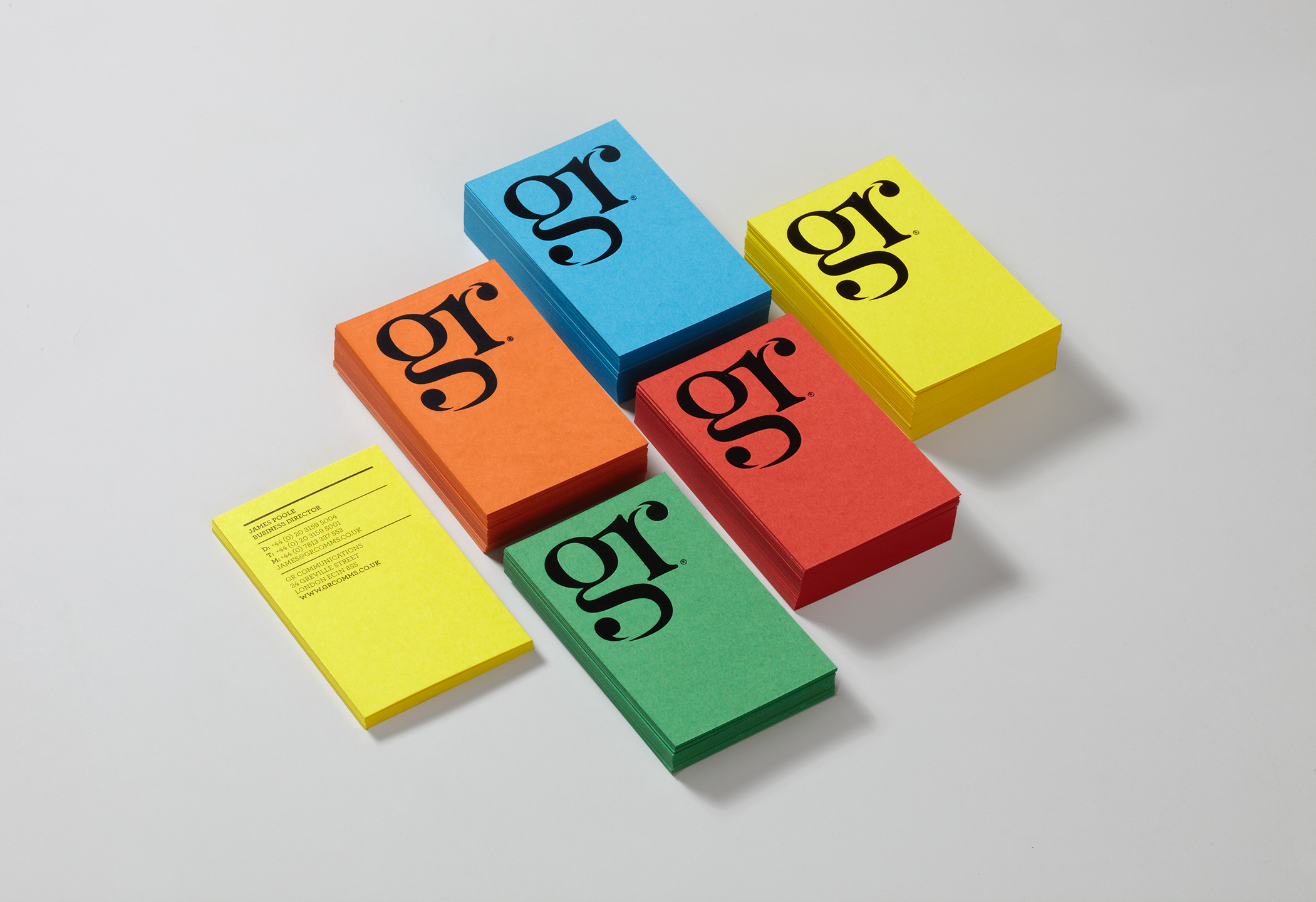 Brand identity for PR company, GR Communications (2016)